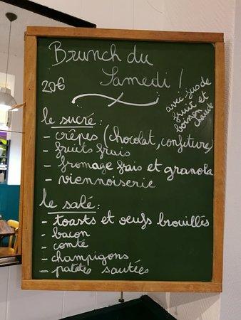 Brunch du Samedi, tout les samedis matin de 11h30 à 15h! Le menu varie toutes les semaines :)