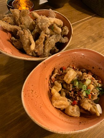 Fried oyster mushroom and salt&pepper squid