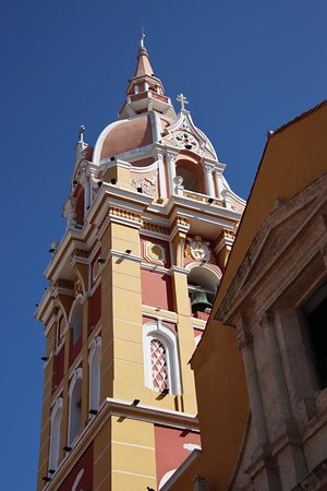 Yellow and pink bell tower