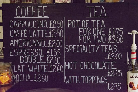 Our tea and coffee menu