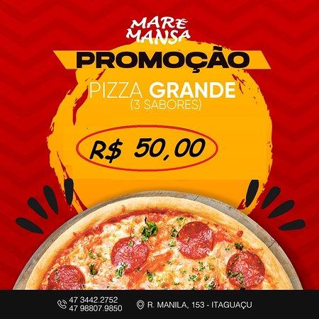 promoção pizza grande,12 fatias com 3 sabores