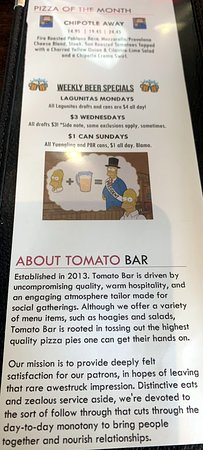 about Tomato Bar Pizza Bakery