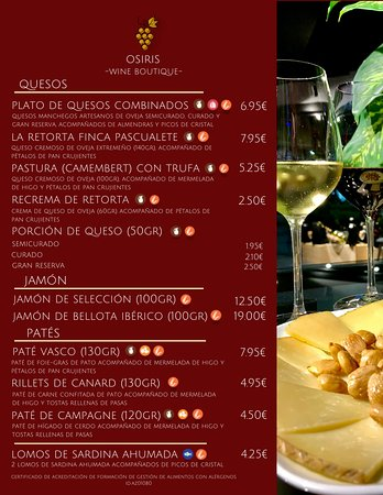 Menu of our gourmet tapas.
