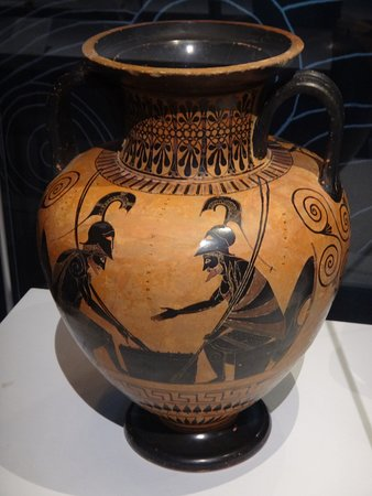 Ajax and Achilles play a board game. An amphora from the 6th century BC