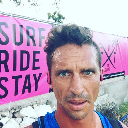 The Gaffa, staying in shape, at Ride The Tide Surf School Barbados