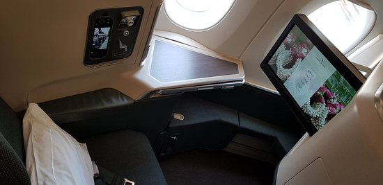 Cathay Pacific: Business class window seat.