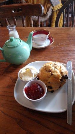 Cream tea, fruit scone, clotted cream, strawberry jam and pot of tea