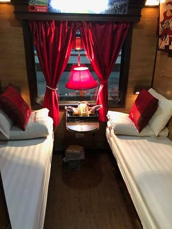 Our cabin. Night train from Hanoi to Sapa.