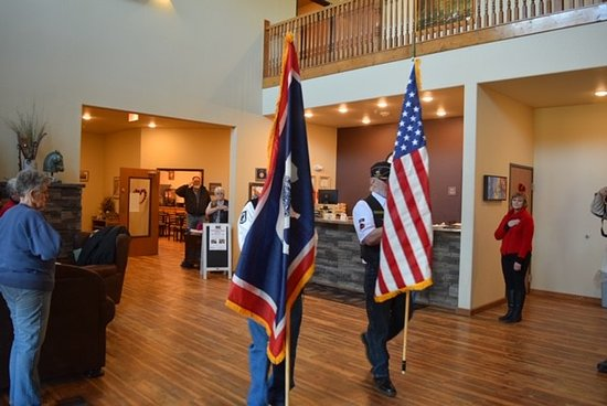 Newcastle, WY: January 18, 2020.  Thank you American Legion Riders for this wonderful presentation of the Wyoming and American Flag.  We are honored!