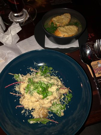 Mushroom risotto and onion soup