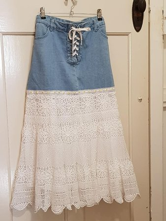 Skirt made from recycled denim skirt and a vintage circular lace tablecloth.