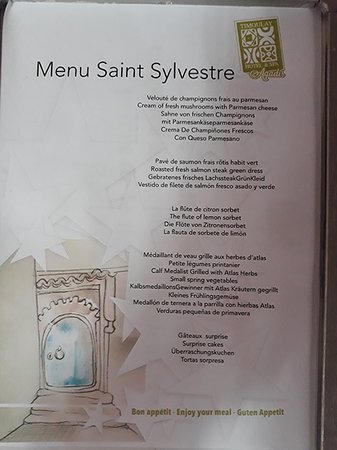 Menu St Sylvestre Picture Of Hotel Timoulay Spa Agadir