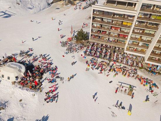 Siviez, Schweiz: La terrasse vue d'en haut