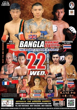 Bangla Boxing Stadium reserves to the right to change the fight program without prior notice. Depending on uncontrollable situation: the accident of the fighter,etc. *********************** More Informatiom as below: Whatsapp :+66641283395 /+66640615050 Wechat : banglaboxing Line ID : banglaboxingstadium Call : +66 64 061 5050 / +66 64 128 3395 / +66 64 138 3130