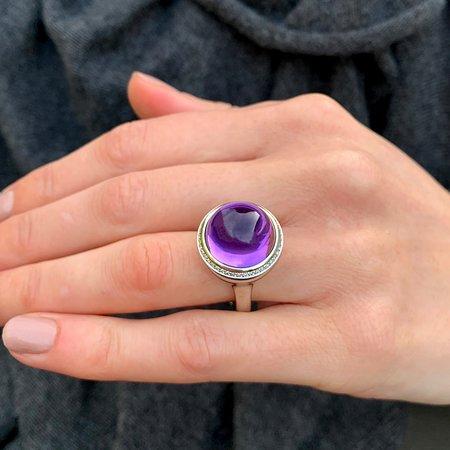Henrich & Denzel Tremolo Platinum Amethyst Diamond Ring Exclusive to Designyard Dublin Ireland and online www.designyard.com