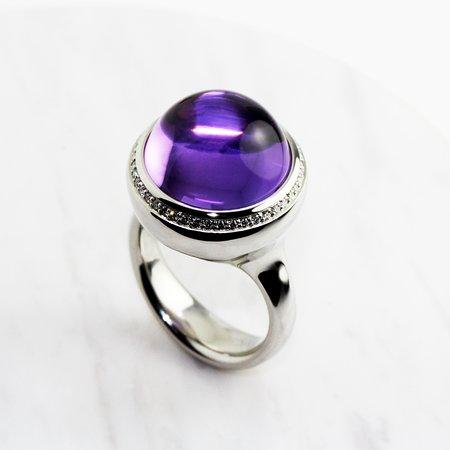 Henrich & Denzel Tremolo Platinum Amethyst and Diamond Statement Ring Exclusively available at Designyard Dublin Ireland Worldwide on www.designyard.com