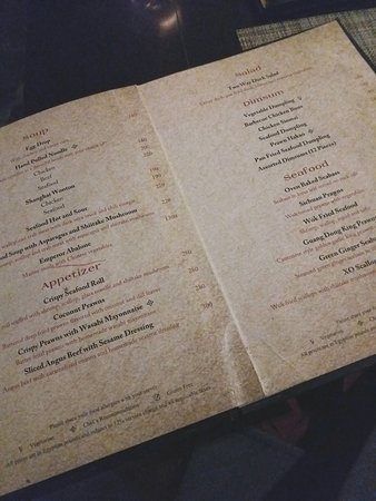 A page from the 'Chinese' Menu.