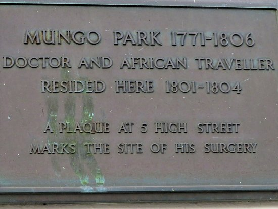 Plaque Marking Mungo Park's Residence