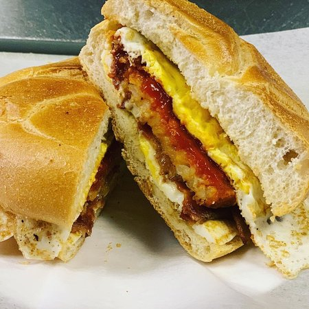 Bacon egg and cheese with a hash brown