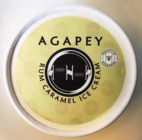 Rum caramel ice cream exclusively available at Agapey Chocolate Factory, Bridgetown, Barbados.