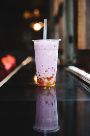 Taro Bubble Tea with Rainbow Jelly