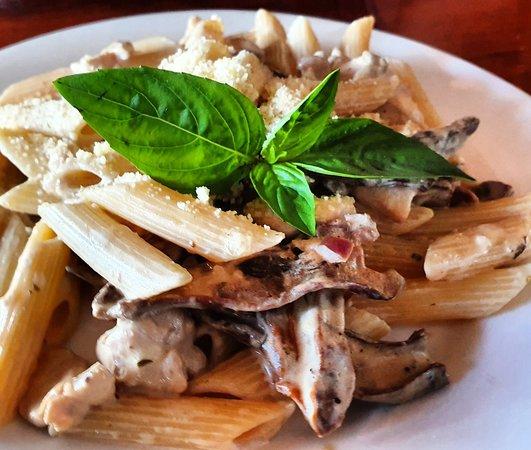 Shows a pasta dish at Artcafe
