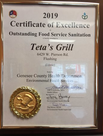 Flushing, MI: Award for the Cleanest Ethnic Restaurant in Geneses County.