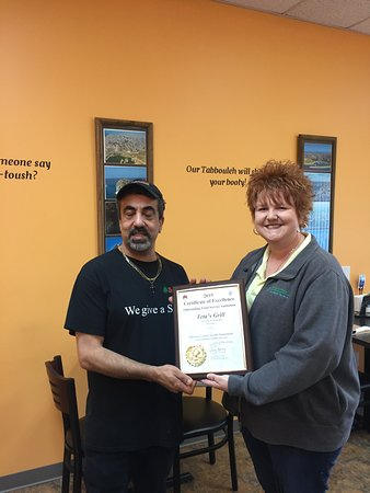 Flushing, MI: Award from The Genesee County Health Department for the Cleanest Ethnic Restaurant