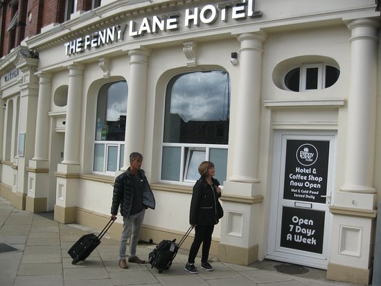 Guests Raymond and Nancy arrive at Penny Lane Hotel in Liverpool.