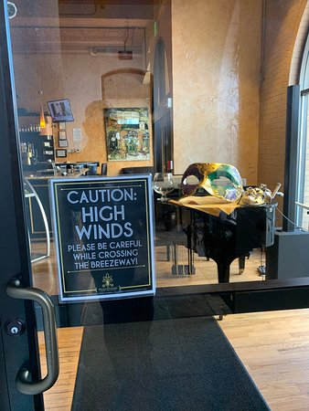 The breezeway between the Mining Exchange Wyndham Grand Hotel and the restaurant sometimes experiences our western slope high winds and drafts.  Cowboy hats not recommended in the breezeway!