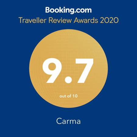 Acre, Israel: Carma's award of excellence from Booking.com for 2020.