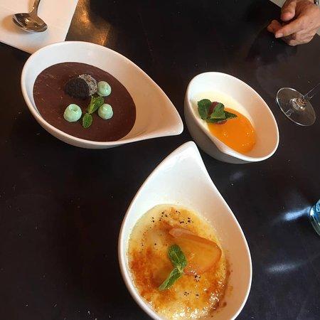 variety of desserts: mousse au chocolat, crème brûlée, panacotta