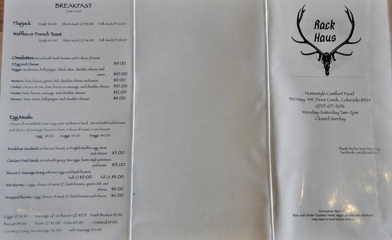 Dove Creek, CO : Menu - Breakfast