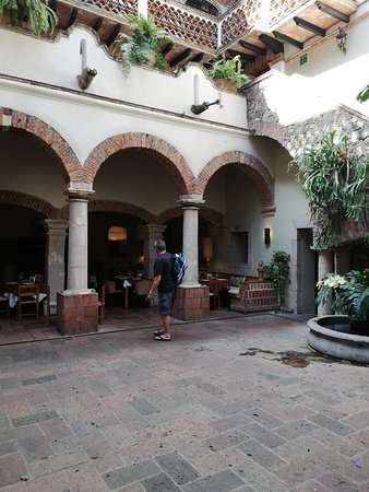 View of the court yard area, looking into the dining area