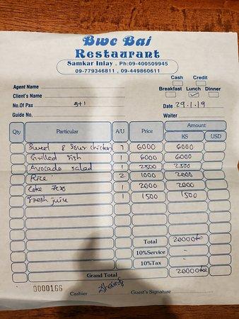 Samka, Myanmar: Bwe Bai Restaurant receipt