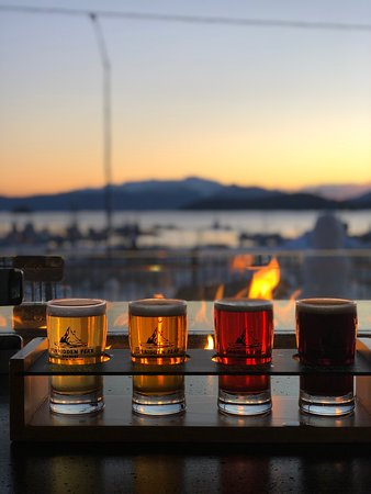 A flight by the fire bar at Forbidden Peak Brewery in the heart of Auke Bay.