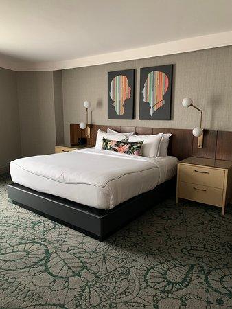 Updated bedroom area of suite