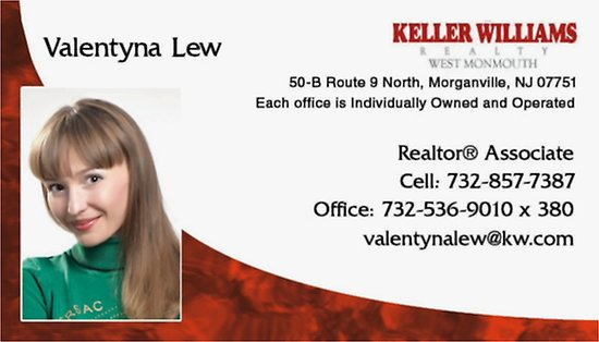 Morganville, NJ: Your NJ Real Estate Angel - Valentyna Lew will make selling/buying a house for the best price in the time frame that works for you a very exciting & memorable experience. Call me at 732-857-7387 for a free consultation. Licensed in NJ, Covering Monmouth, Ocean, Middlesex, Western Bergen, Passaic, Sussex, Morris, Warren, Hunterdon, Somerset, Union & Essex Counties of New Jersey. Multi-Million Dollar Producer-Realtor at KELLER WILLIAMS REALTY WEST MONMOUTH