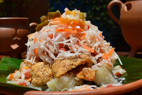 El plato Vigorón es un alimento del menú tradicional de esta zona.  Compuesto por una deliciosa