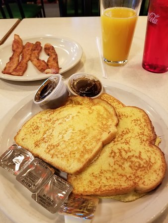 Durand, MI: French toast with bacon and orange juice.