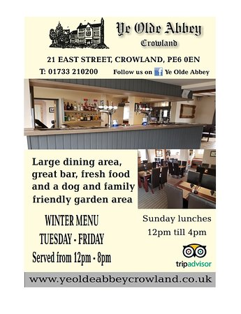 Crowland, UK: Our new advert with meal timings