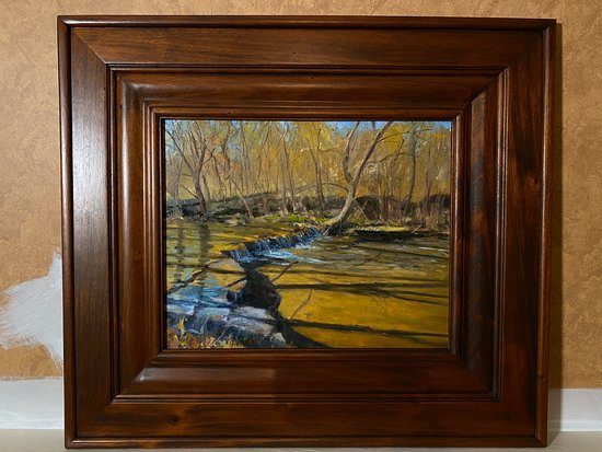 """The creek on the property inspired """"Lincoln Run"""" a 16x20 oil painting by Rich Brimer"""