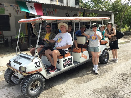 Here we are coming back from the Mahahaul Beach with the eight seater golf cart. No insurance or driver's license required! And no $$ deposit required either!