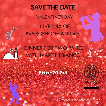 #IHaveACrushOnYou ━━━━ Menu For Two 🥂 💗 Spend Your Jazzy Evening at #TheGroveDesignRestaurant with Your Beloved Ones 💗 - Live mix of #Saxophone and #DJ - Dinner for two paired with Martini Bianco  Price: 70 Gel (including VAT for two persons)   Contact us to reserve: +995 032 230 00 60 or (+995) 598 924 921