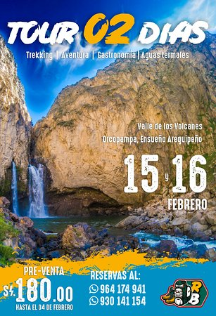 ✅ CONOCE el valle de los volcanes de una manera 💯% aventurera ---------------- TOUR ECO PARQUE - VALLE DE LOS VOLVANES - ANDAGUA/ORCOPAMPA ‼ 👉 02 DÍAS con una Súper RUTA AVENTURERA Solo 17 cupos por viaje -------------------------------- >🗓 VIAJE: 15 - 16 DE FEBRERO -------------------------------- 👉Regístrate aquí: https://docs.google.com/…/1FAIpQLSeH8CDtqLl7JqUIF…/viewform… -------------------------------- 💪 Recorre el Geo Parque de una manera diferente, un trekking lleno de vistas hermos
