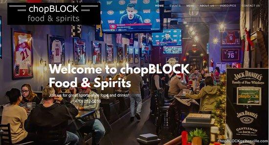 Gainesville, GA: Web Homepage chopBLOCK food & spirits