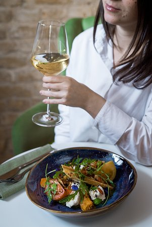 Lunch with a glass of wine