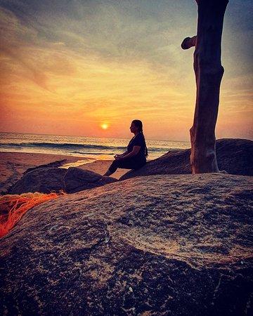 Yoga experience at beach-Sun set