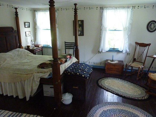 Upstairs bedroom in Stafford-Whitman farm house.