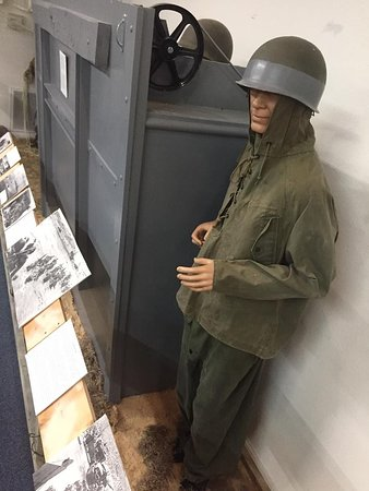 A life-size recreation of the landing craft used in WWII.